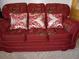 Red fabric sofa set - 3 seater sofa + 2 arm chairs
