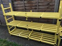Yellow plastic shelving sections