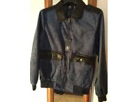 New Dark Blue Suede Effect Leather Jacket - Italian made Men's Medium / M size