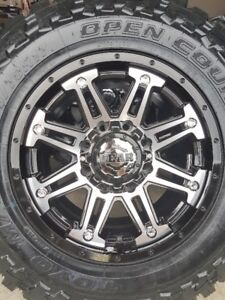 4 NEW GEAR RIMS WITH NEW TOYO OPEN COUNTRY M/T LT265/70/17