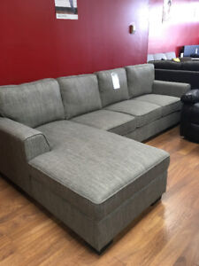 Floor model clearance grey linen 2pc sectional $948+FREE DELIVER