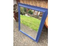 BLUE CHALK PAINTED DISTRESSED MIRROR