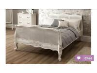 Shabby chic king size solid mahogany bed