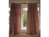 r Grey Curtains with Grey & Pink Print; 100% Cotton with lining; washable; Pencil Pleats