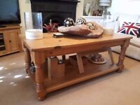 Antique Solid Pine Chunky Coffee Table (Large)