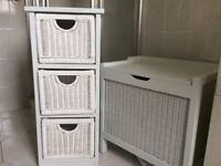 Bathroom/Bedroom White wood, Woven Chest and Drawer set