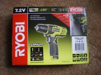 New (2017) Ryobi compact 7.2v drill / screw driver, lithium Ion battery, includes 24 driver bits