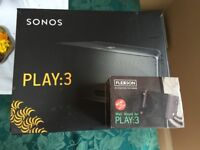 Brand new sealed sonos play 3 speaker & flexson wall mount