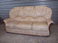 Italian Cream Leather 3-seater Sofa
