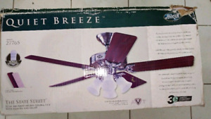 Hunter Quiet Breeze ceiling fan with remote.
