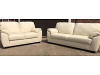 New/Transport Damaged Milano 3+2 Seater Leather Sofa - Ivory