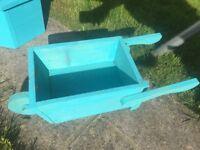 Hand made small wheelbarrow planter