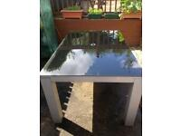 Large black silver glass garden table