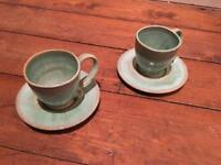 Handmade espresso cups. Green ceramic. Excellent condition.