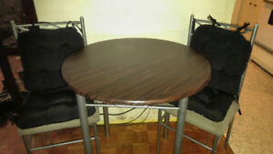 Wood & Metal Table with 2 Chairs