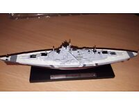 Collection of 6 Atlas editions Die cast metal 1/1250 scale warships