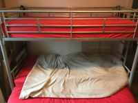 Metal bunk bed frame with single mattress and double futon