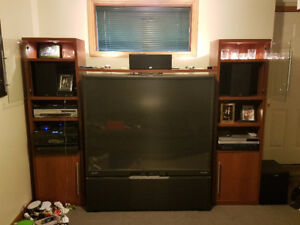 "61"" TV with HDMI. Great basement / man cave set!"