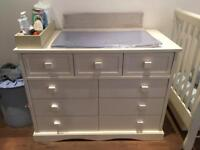 Cot with mattress and changing dresser