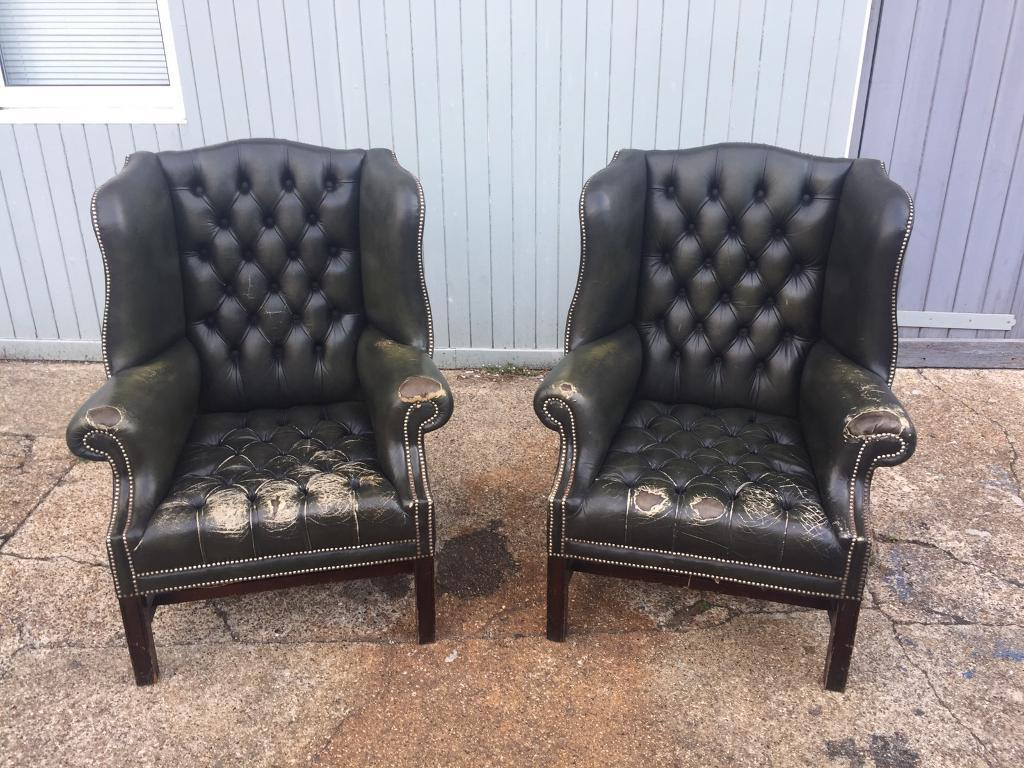 Pair Of Green Chesterfield Armchairs In Brighton East Sussex