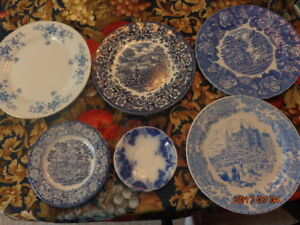 6 Blue & White Plates: Includes Wood & Sons, Red River, Etc.