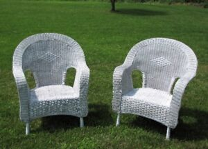 WHITE WICKER FURNITURE - CHAIRS, TABLES, DRESSER