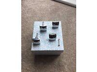 Decorative chromed square knobs, set of four