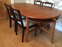 LOVELY COMPACT IKEA WOODEN DINING TABLE WITH 6 CHAIRS