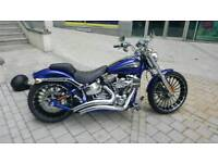 HARLEY DAVIDSON CVO BREAKOUT Blue including large Radius (Leaf Blower) Exhaust full current MOT,