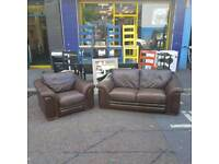 Small 2 seater sofa and armchair in brown leather