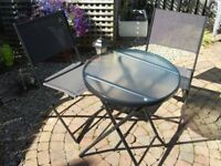 BISTRO SET FOLDING TABLE AND TWO CHAIRS, BRAND NEW AND BOXED