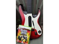 Xbox 360 Guitar Hero Wireless Red & White Guitar Hero Guitar, strap, and World tour Game
