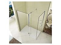 L Shape Wet Room Shower Enclosure - Walk in Cubicle Fixed Return Panel - Still in Box
