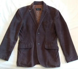 "Mens Burtons Brushed Cotton Vintage Look Blazer / Jacket , Brown , Small / 35""- 38"""