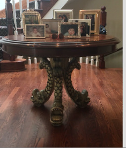 Original Round table with Hand Carved Base