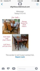 Pub table and 4 chairs and dining room table