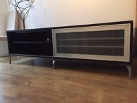 FREE TV stand with two drawers and sliding glass