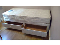Single Silentnight Divan Bed with two drawers + Mattress