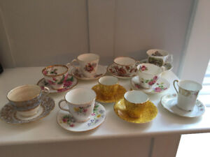 Antique Tea Cups/Saucers and Royal Doulton Figurine