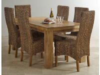 """Natural Solid Mango 5ft x 2ft 6"""" Dining Table & Four High Back Grass Chair with Solid Mango Legs"""