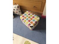 Colourful owl storage Box, 2 owl Cushions & matching owl material