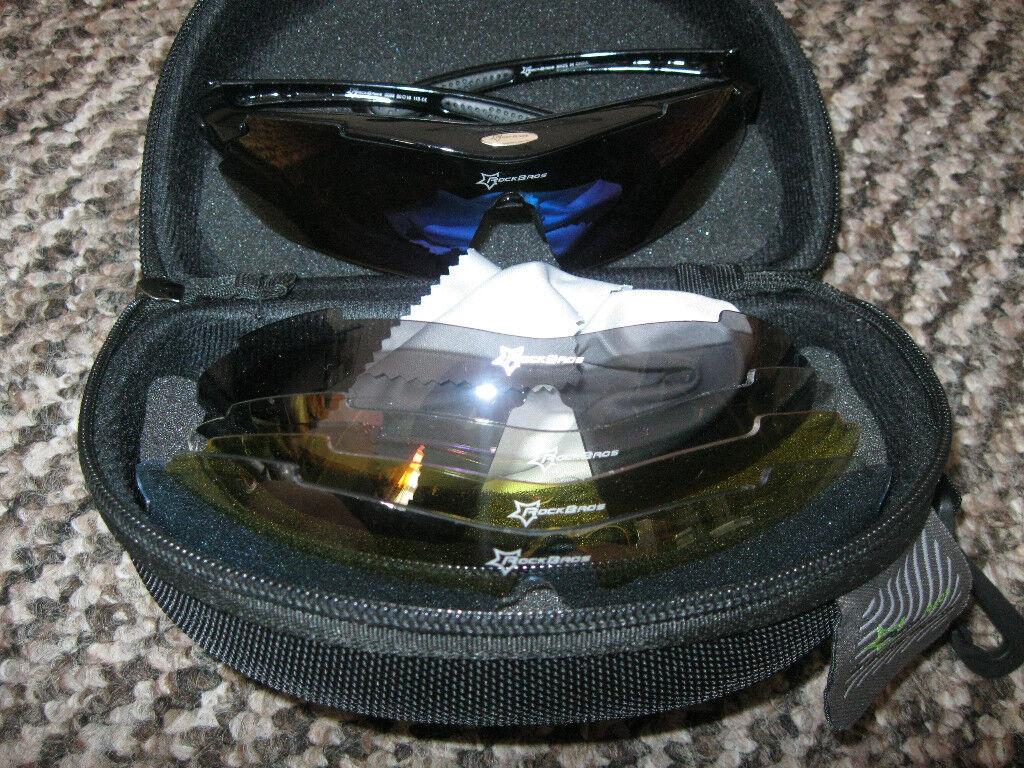 b0c7c9142f1 UK ROCKBROS Polarized Cycling Glasses Bike MTB Sports Sunglasses 5 Lens  Goggles in case