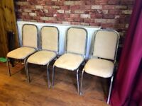 4 X INDUSTRIAL LOOK CHAIRS WITH CREAM SUEDE SEATS - CAN DELIVER - OR COURIER