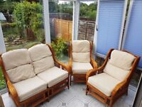 three piece conservatory cane chairs