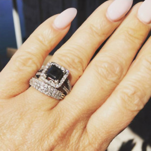 Engagement Ring w/ 2 Carat Black Diamond & White Diamond Band