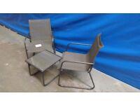 Garden Furniture - Metal & Textilene Bistro Set, Table & 2 Chairs