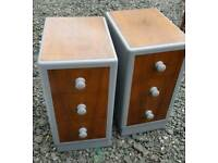 Art deco upcycled bedside cabinets