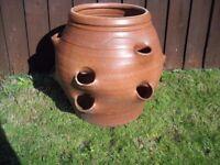 Large terracota strawberry pot.
