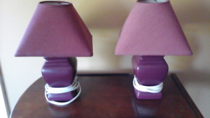 Pair of burgandy table lamps - great accent pieces.
