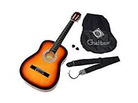 Classical Acoustic Guitar in Sunburst with Starter Package: Bag, Spare Strings and Belt